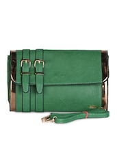 Green Leatherette Clutch - Daphne