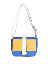 Blue Leatherette Colour Block Sling Bag - Daphne