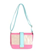 Pink Leatherette Colour Block Sling Bag - Daphne