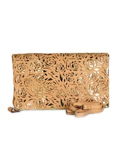 Beige & Gold Leatherette Cut Work Clutch - Daphne