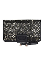Black Leatherette Floral Cut Work Clutch - Daphne