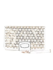 White Leatherette Floral Cut Work Clutch - Daphne