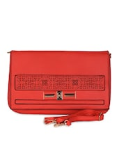 Red Leatherette Cut Work Clutch - Daphne