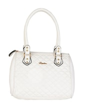 White Geometric Pattern Textured Handbag - Daphne
