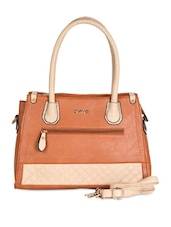 Brown & Beige Textured Leatherette Handbag - Daphne
