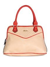 Beige & Red  Textured Leatherette Handbag - Daphne