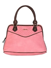 Pink & Brown Textured Leatherette Handbag - Daphne