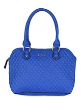 Blue Leatherette Geometric Pattern Textured Handbag - Daphne