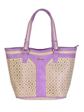 Purple & Beige Floral Cut Work Handbag - Daphne