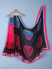Black & Pink Printed Georgette Saree - Inddus