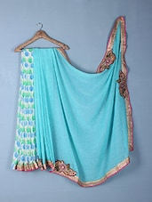 Blue Printed & Embroidered Georgette Saree - Inddus