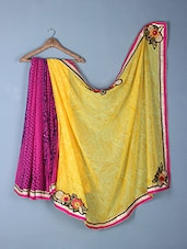 Yellow & Pink Printed & Embroidery Georgette Saree - Inddus