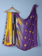 Yellow & Purple Printed & Embroidered Georgette Saree - Inddus