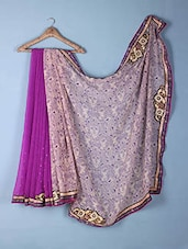 Beige & Purple Printed & Embroidered Georgette Saree - Inddus