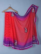 Red & Purple Printed & Embroidered Georgette Saree - Inddus