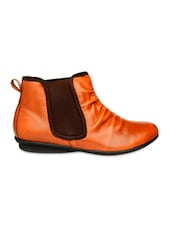 Brown Ankle Length Boots With Elastic Closure - Bruno Manetti
