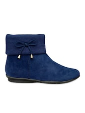 Blue Ankle Length Boot With Lace Bow - Bruno Manetti