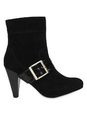 Black Boots With Black  Strap & Buckle - Bruno Manetti