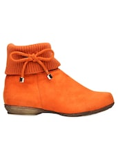 Orange Ankle Length Boot With Lace Bow - Bruno Manetti