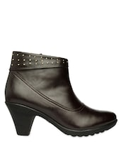 Brown Ankle Length Studded Boots With Zipper - Bruno Manetti