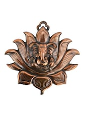 Metal Wall Hanging Of Lord Ganesha On Lotus - ECraftIndia