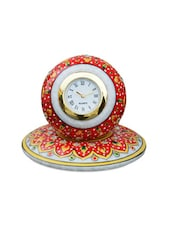Red Floral Marble Round Table Clock - ECraftIndia