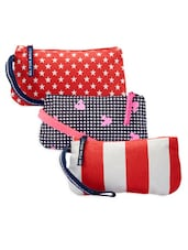 Hounds Tooth Print And Striped Patterned Cotton Canvas Wristlet Set - Be... For Bag