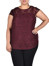 Maroon Lace Top With Viscose Back - LastInch
