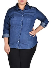 Dark Blue Full Sleeve Embellished Denim Shirt - LastInch