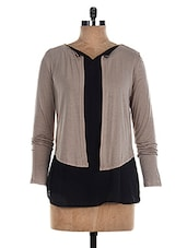 Black & Beige Color Block Long Sleeves Top - The Style Aisle