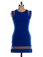 Royal Blue Poly Cotton  Sleeveless Short Dress - The Style Aisle