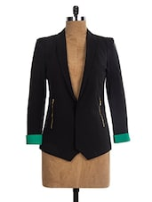 Black  & Green Polyester Blazer - The Style Aisle