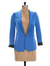 Blue & Black Polyester Blazer - The Style Aisle