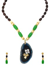 Blue Agate Beads Necklace Set - Daamak