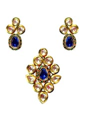 Blue & Golden Pendant & Earring Set - Daamak