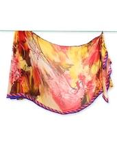 Red & Yellow Abstract Print Saree - Saraswati