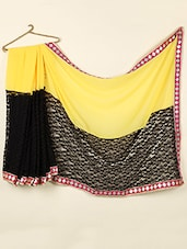 Color Block Georgette With Lace Net Saree - ABHIRUPA