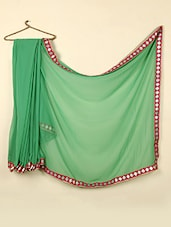 Plain Green Georgette Saree With Brocade Border - ABHIRUPA