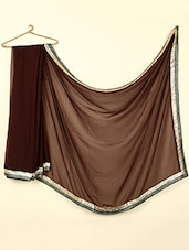Brown Color Sequined Work Sheer Georgette Saree - ABHIRUPA