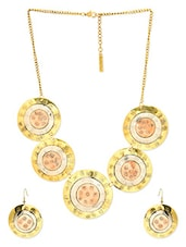 Gold Metal Alloy Necklace And Earrings Set - By