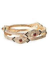 Golden Metal Alloy Crystal Embedded Bangles (Set Of 2) - Bo'bell