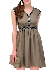 Olive Green, Black Crepe Fit & Flare  Dress - By