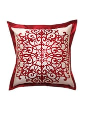 Beige &maroon Cotton Cushion Cover - By