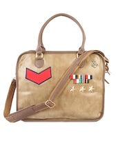Beige Faux Leather Laptop Bag - HARP