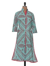Three-quarter Sleeved Mandarin Collar Printed Kurta - Tissu