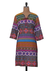 Casual Printed Three-quarter Sleeved Cotton Kurta - Tissu