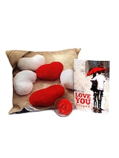 Valentine Gift With Heart Printed Cushion N Greeting Card - By