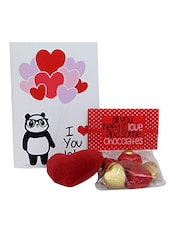 Parcel Of Fondness With Red Heart Soft Toy N Chocolates Gift For Valentine GIFTS110196 - By