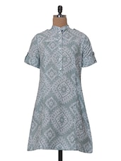 Mandarin Printed Short Sleeved Casual Kurta - Tissu