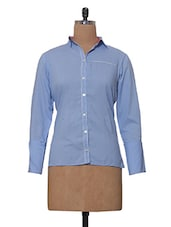 Blue Formal Office Wear Shirt In Linen - Tissu